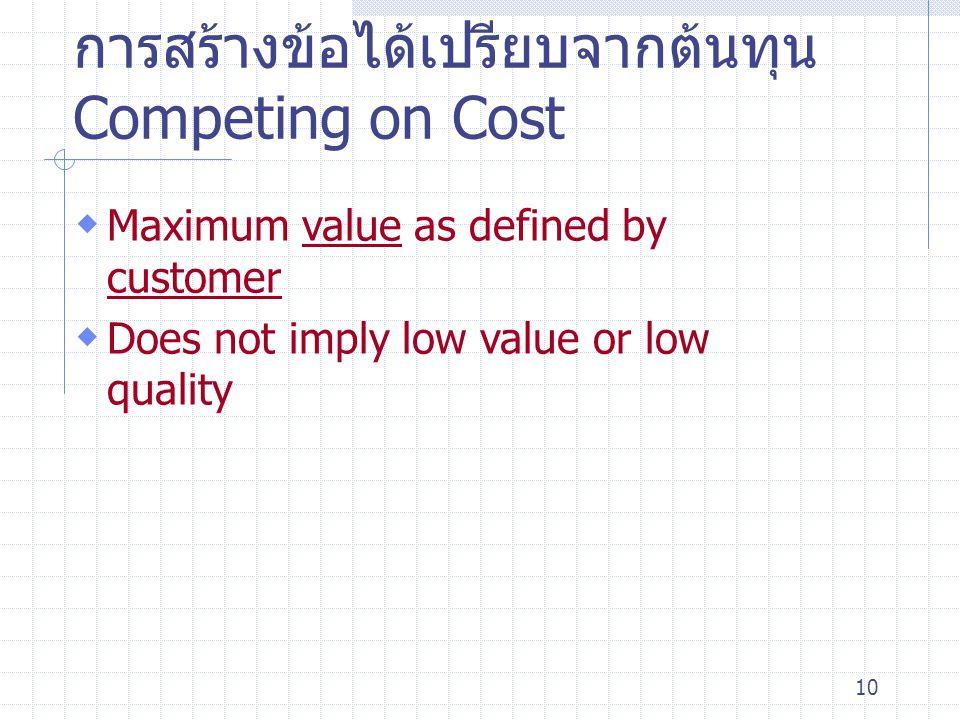 การสร้างข้อได้เปรียบจากต้นทุน Competing on Cost