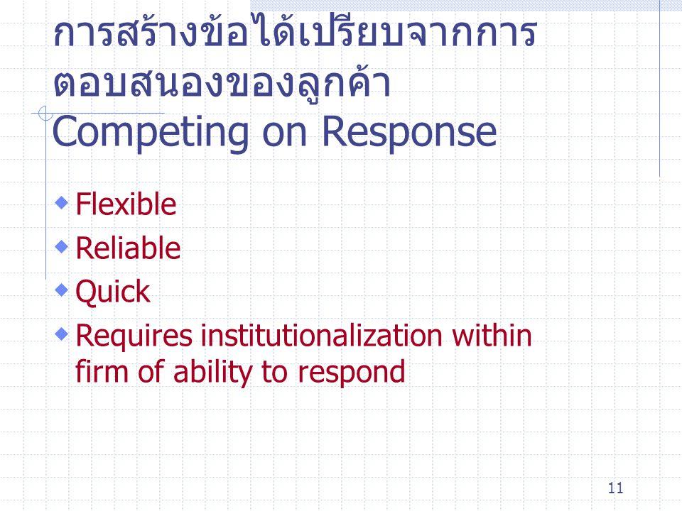 การสร้างข้อได้เปรียบจากการตอบสนองของลูกค้า Competing on Response