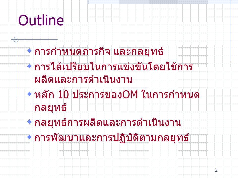 Outline การกำหนดภารกิจ และกลยุทธ์