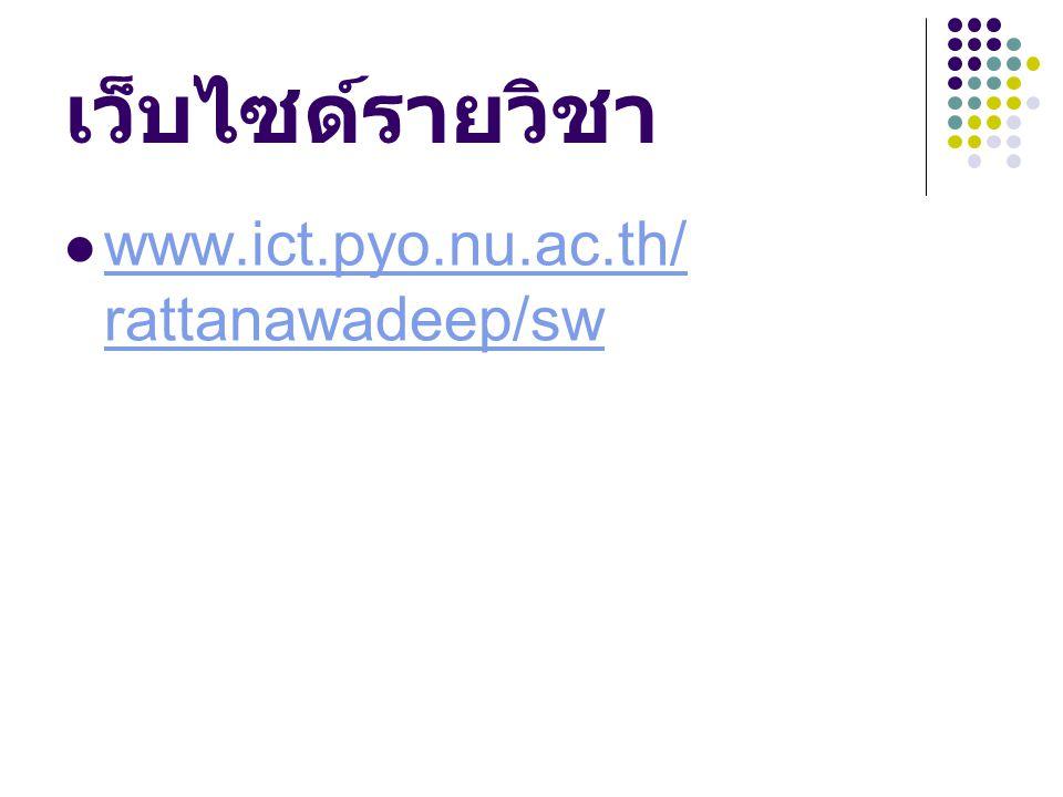 เว็บไซด์รายวิชา www.ict.pyo.nu.ac.th/ rattanawadeep/sw