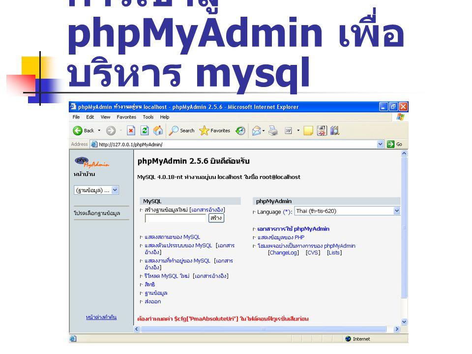 การเข้าสู่ phpMyAdmin เพื่อบริหาร mysql