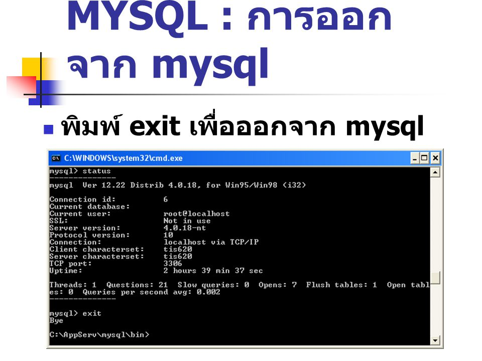 MYSQL : การออกจาก mysql