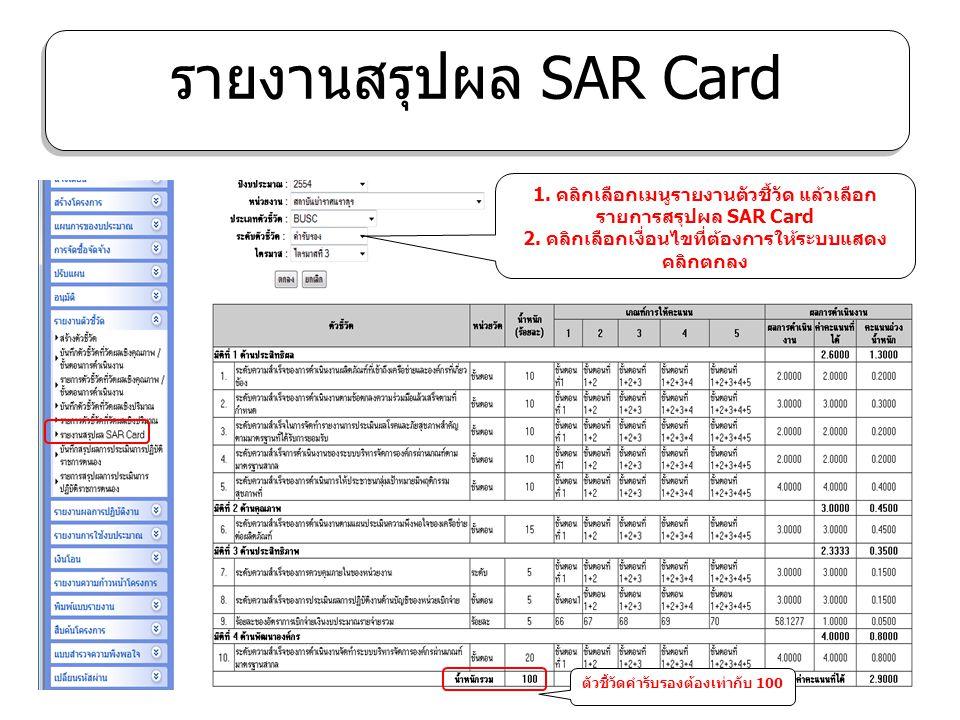 รายงานสรุปผล SAR Card 1. คลิกเลือกเมนูรายงานตัวชี้วัด แล้วเลือกรายการสรุปผล SAR Card. 2. คลิกเลือกเงื่อนไขที่ต้องการให้ระบบแสดง คลิกตกลง.