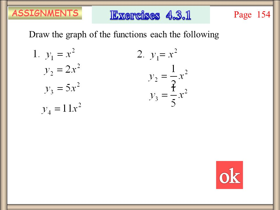 ASSIGNMENTS Exercises 4.3.1 Page 154 Draw the graph of the functions each the following ok