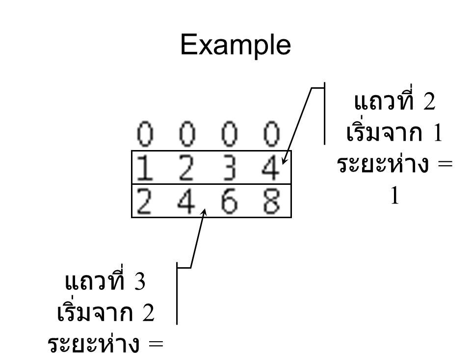Example แถวที่ 2 เริ่มจาก 1 ระยะห่าง = 1