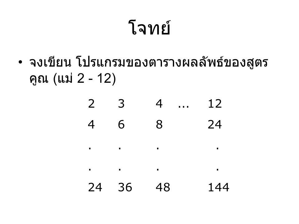 โจทย์ จงเขียน โปรแกรมของตารางผลลัพธ์ของสูตรคูณ (แม่ 2 - 12)