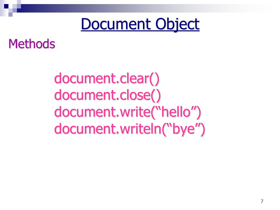 Document Object Methods.