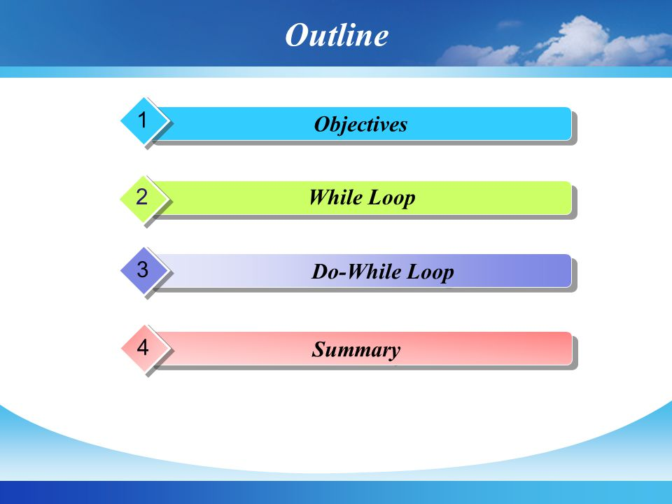 Outline 1 Objectives 2 p While Loop 3 Do-While Loop 4 Summary