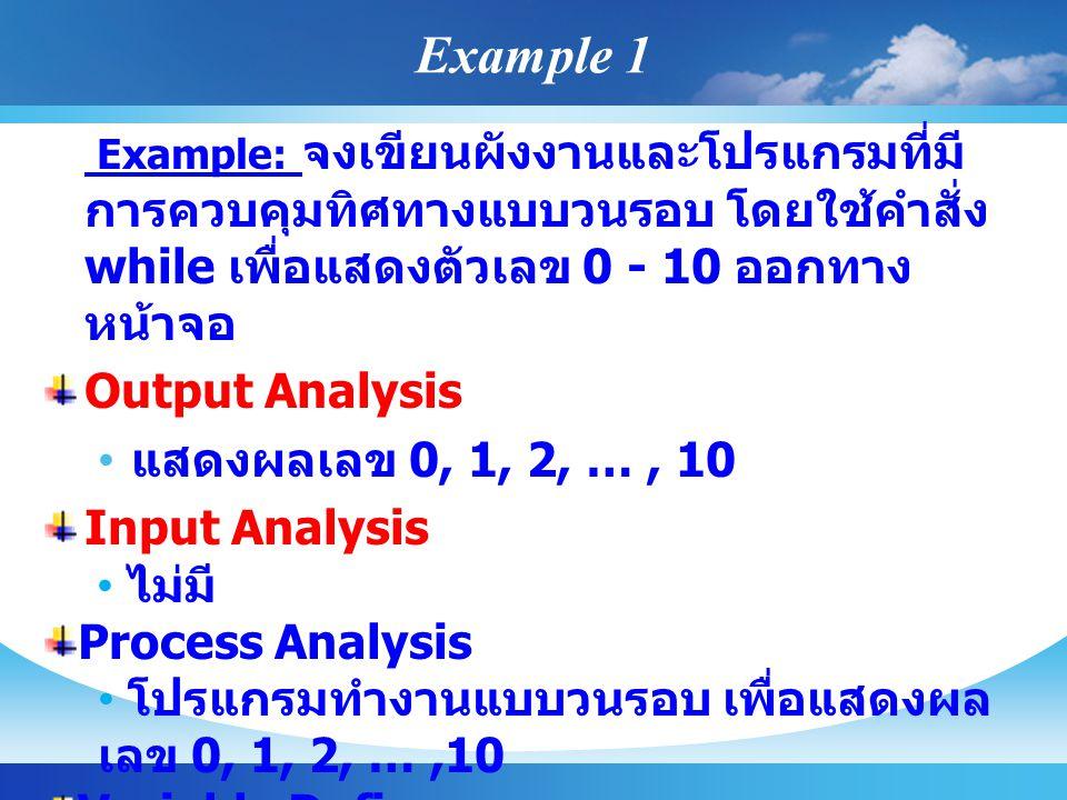 Example 1 Output Analysis แสดงผลเลข 0, 1, 2, … , 10 Input Analysis
