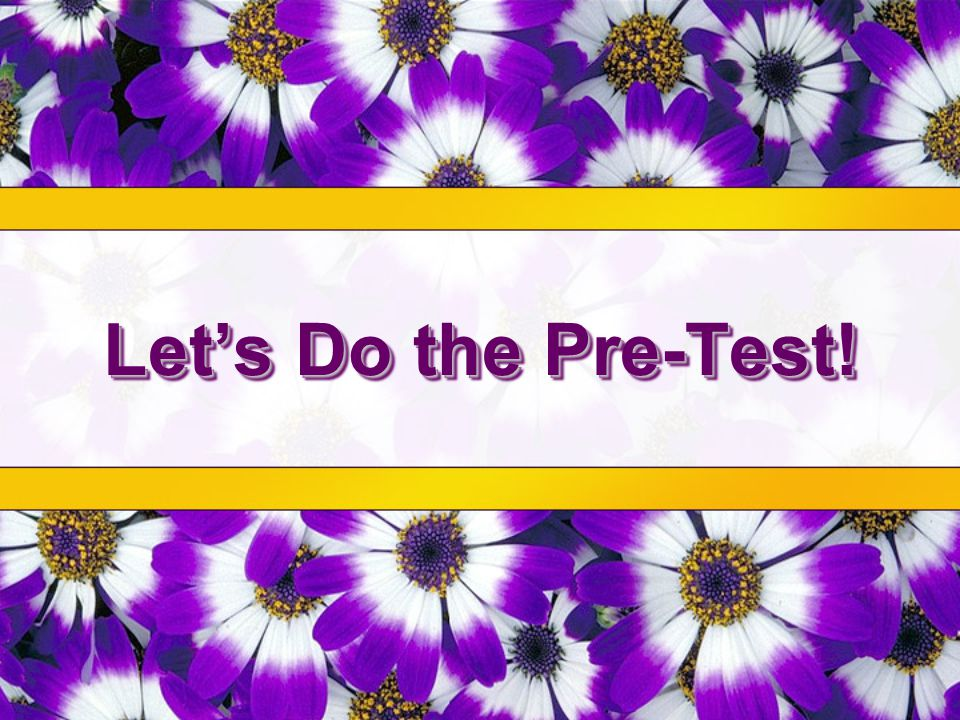 Let's Do the Pre-Test!