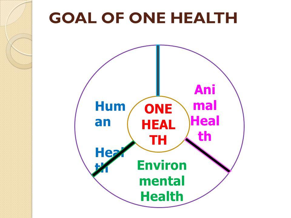 GOAL OF ONE HEALTH Human Animal Health Health ONE HEALTH Environmental