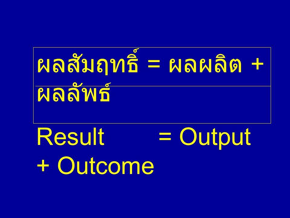 ผลสัมฤทธิ์ = ผลผลิต + ผลลัพธ์
