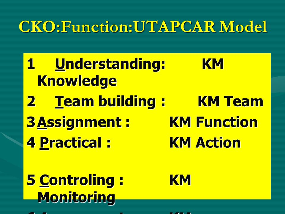 CKO:Function:UTAPCAR Model