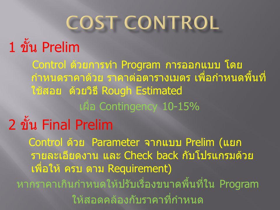 COST CONTROL 1 ขั้น Prelim 2 ขั้น Final Prelim