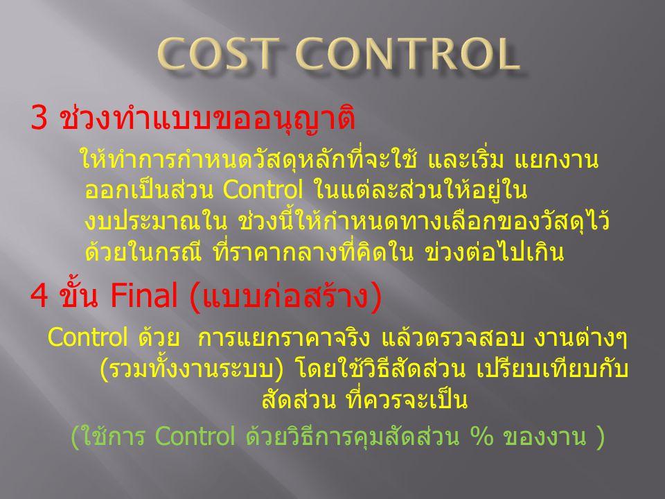(ใช้การ Control ด้วยวิธีการคุมสัดส่วน % ของงาน )