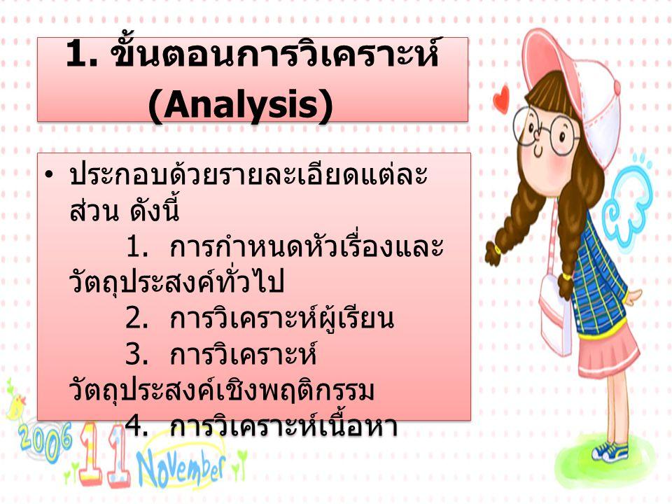 1. ขั้นตอนการวิเคราะห์ (Analysis)