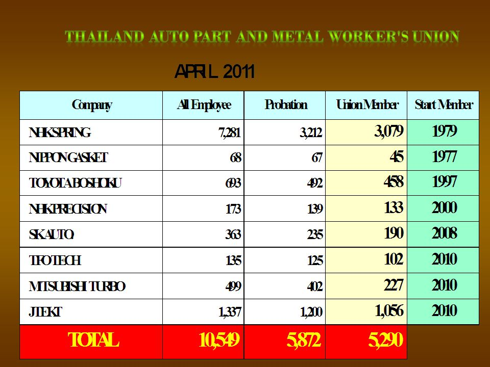 THAILAND AUTO PART AND METAL WORKER S UNION