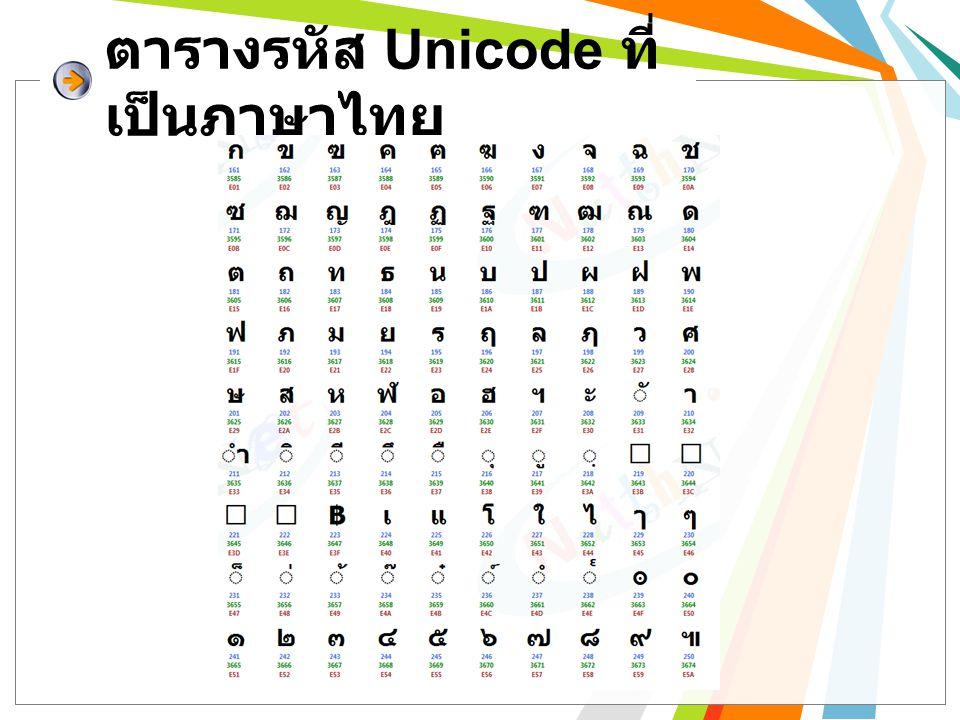 ตารางรหัส Unicode ที่เป็นภาษาไทย