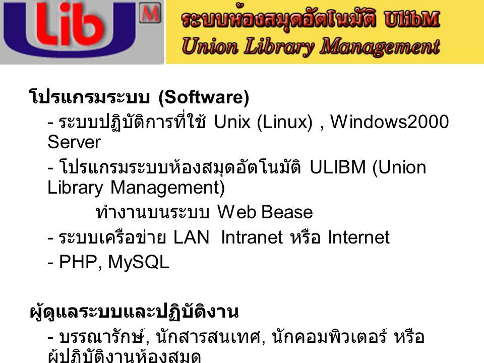 โปรแกรมระบบ (Software)