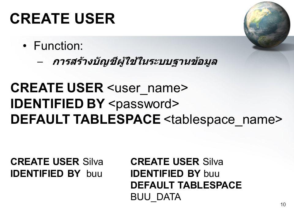 CREATE USER CREATE USER <user_name>