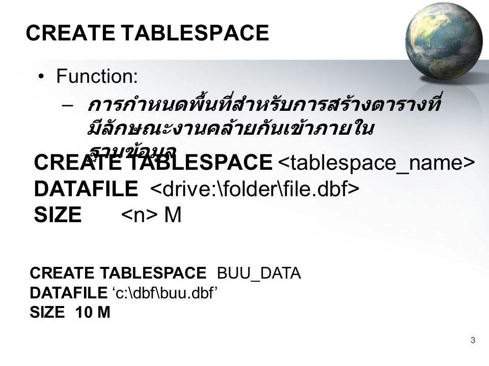 CREATE TABLESPACE <tablespace_name>