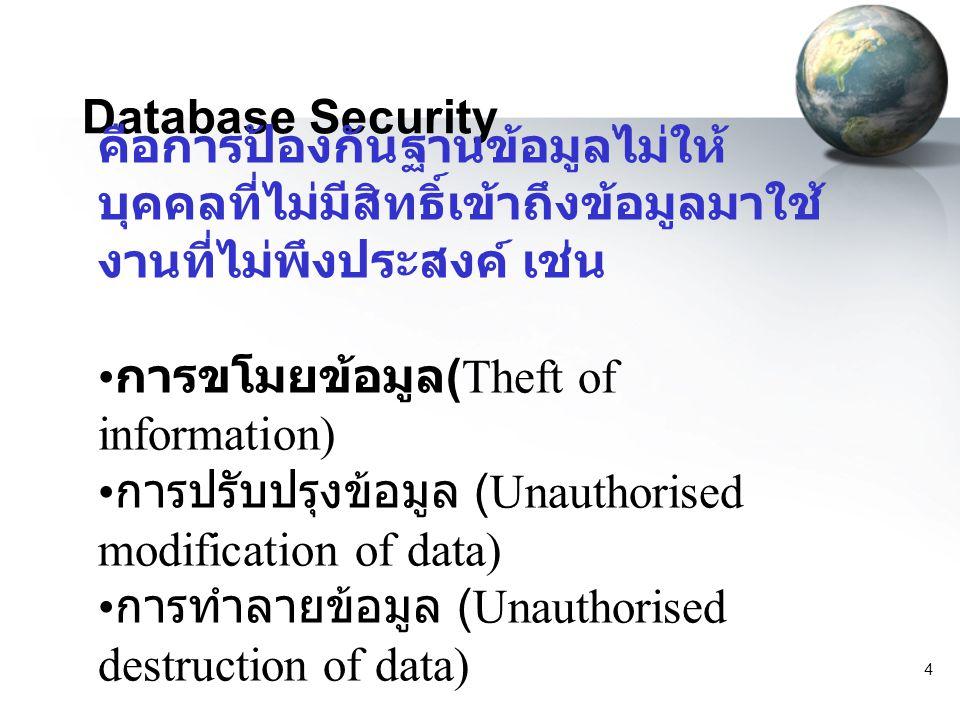 Database Security คือการป้องกันฐานข้อมูลไม่ให้บุคคลที่ไม่มีสิทธิ์เข้าถึงข้อมูลมาใช้งานที่ไม่พึงประสงค์ เช่น.