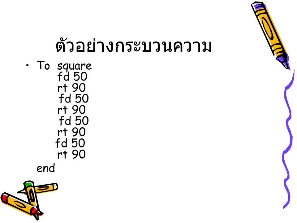 ตัวอย่างกระบวนความ To square fd 50 rt 90 fd 50 rt 90 fd 50 rt 90 fd 50 rt 90.