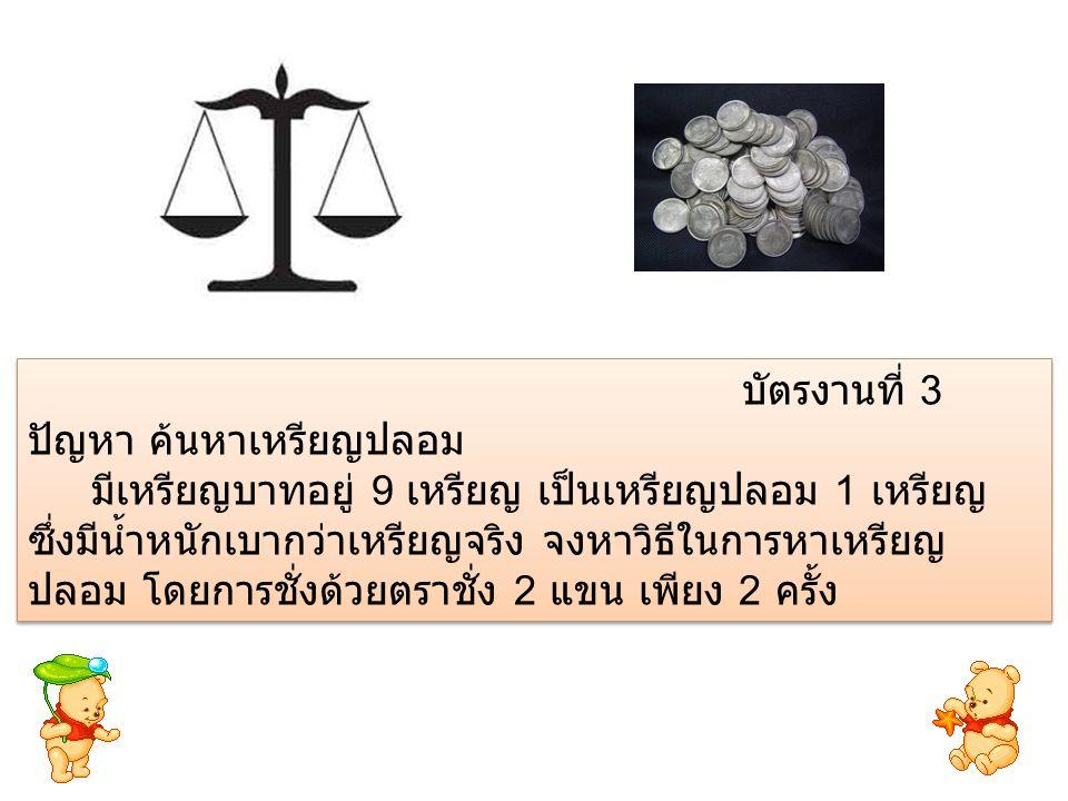 บัตรงานที่ 3 ปัญหา ค้นหาเหรียญปลอม.
