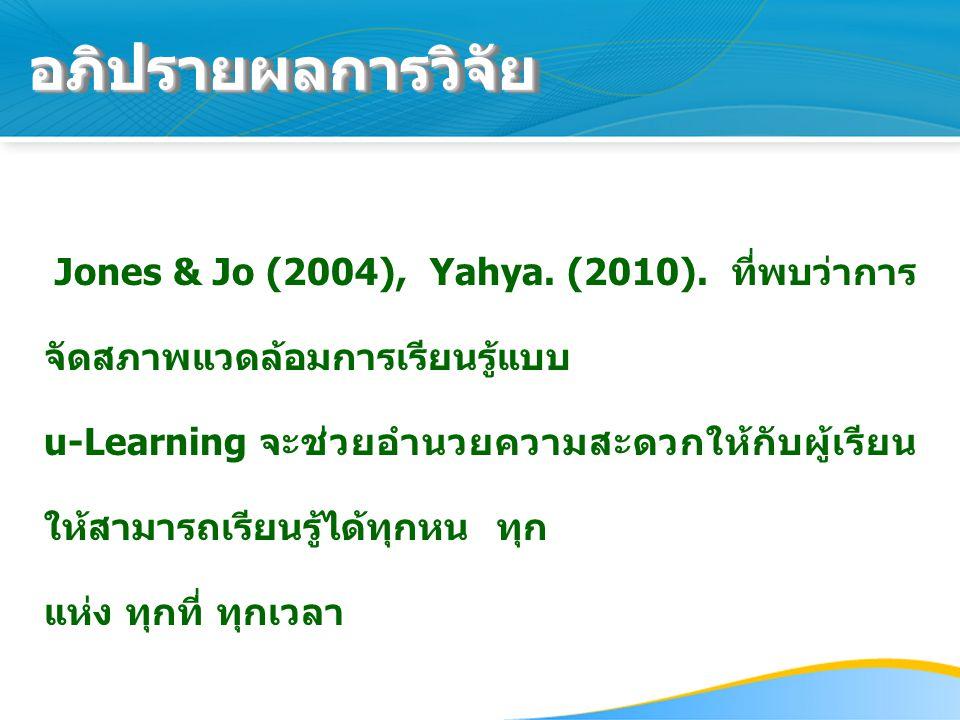 อภิปรายผลการวิจัย Jones & Jo (2004), Yahya. (2010). ที่พบว่าการจัดสภาพแวดล้อมการเรียนรู้แบบ.