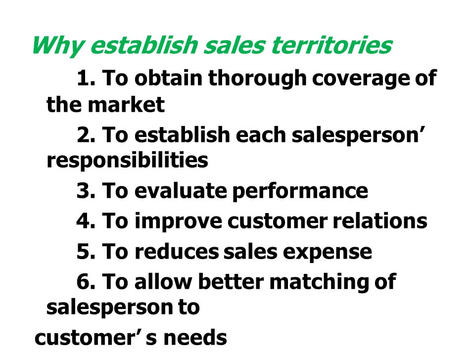 Why establish sales territories