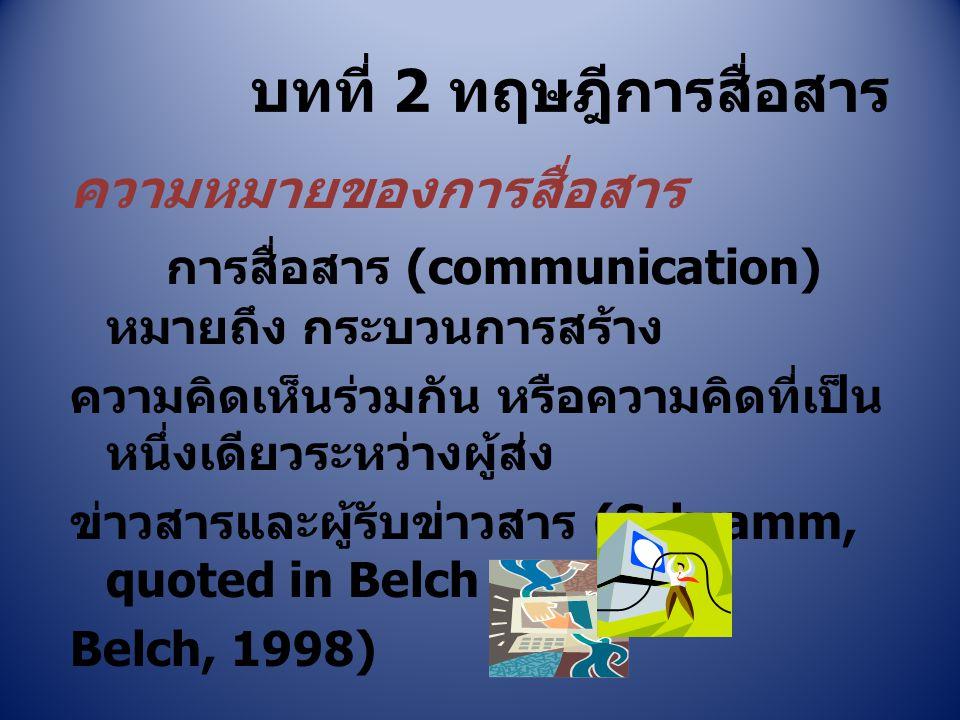 บทที่ 2 ทฤษฎีการสื่อสาร