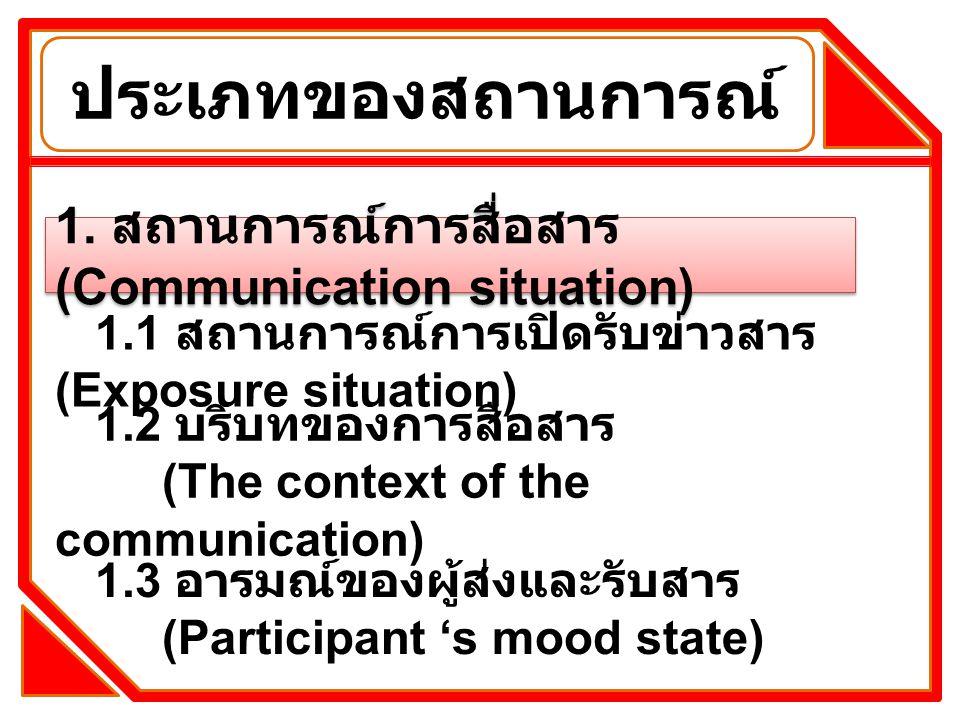 ประเภทของสถานการณ์ 1. สถานการณ์การสื่อสาร (Communication situation)