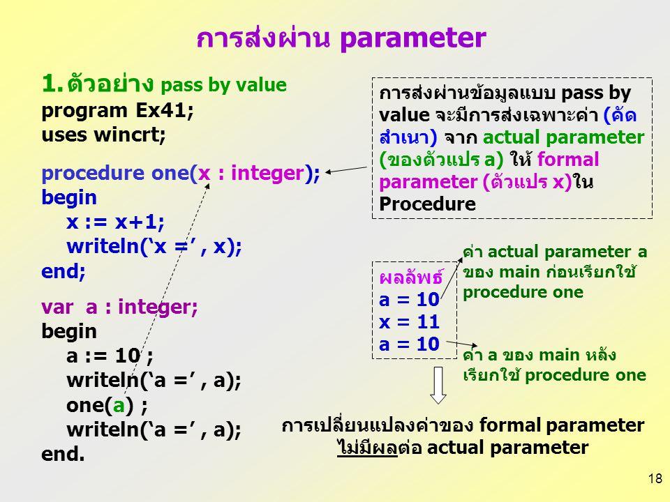 การเปลี่ยนแปลงค่าของ formal parameter ไม่มีผลต่อ actual parameter