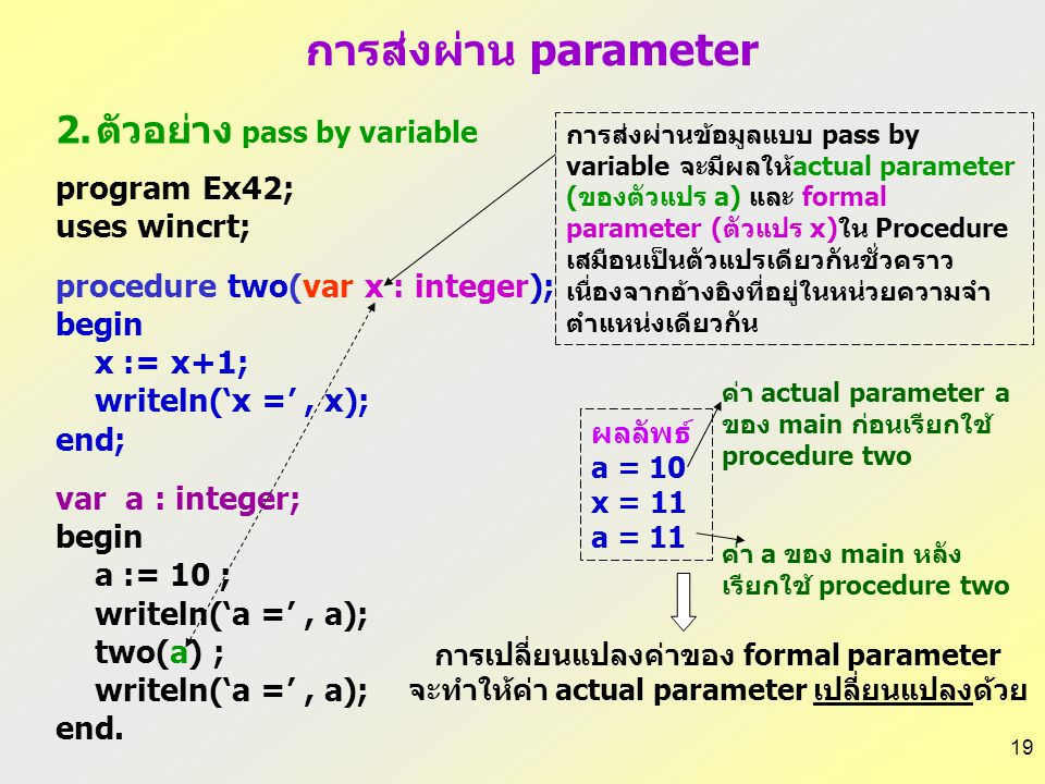 ตัวอย่าง pass by variable
