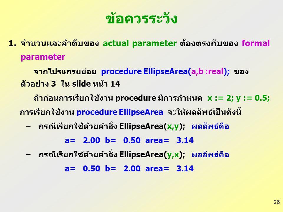 ข้อควรระวัง จำนวนและลำดับของ actual parameter ต้องตรงกับของ formal parameter.