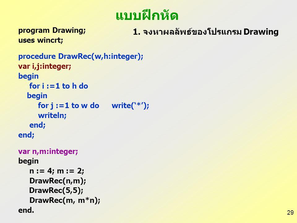 แบบฝึกหัด 1. จงหาผลลัพธ์ของโปรแกรม Drawing program Drawing;