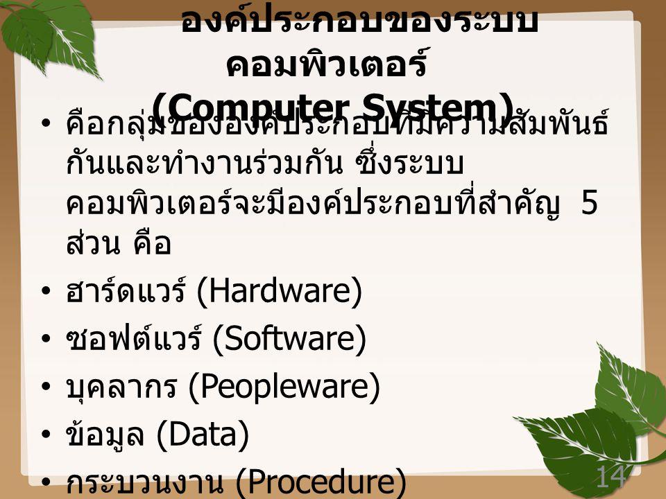 องค์ประกอบของระบบคอมพิวเตอร์ (Computer System)