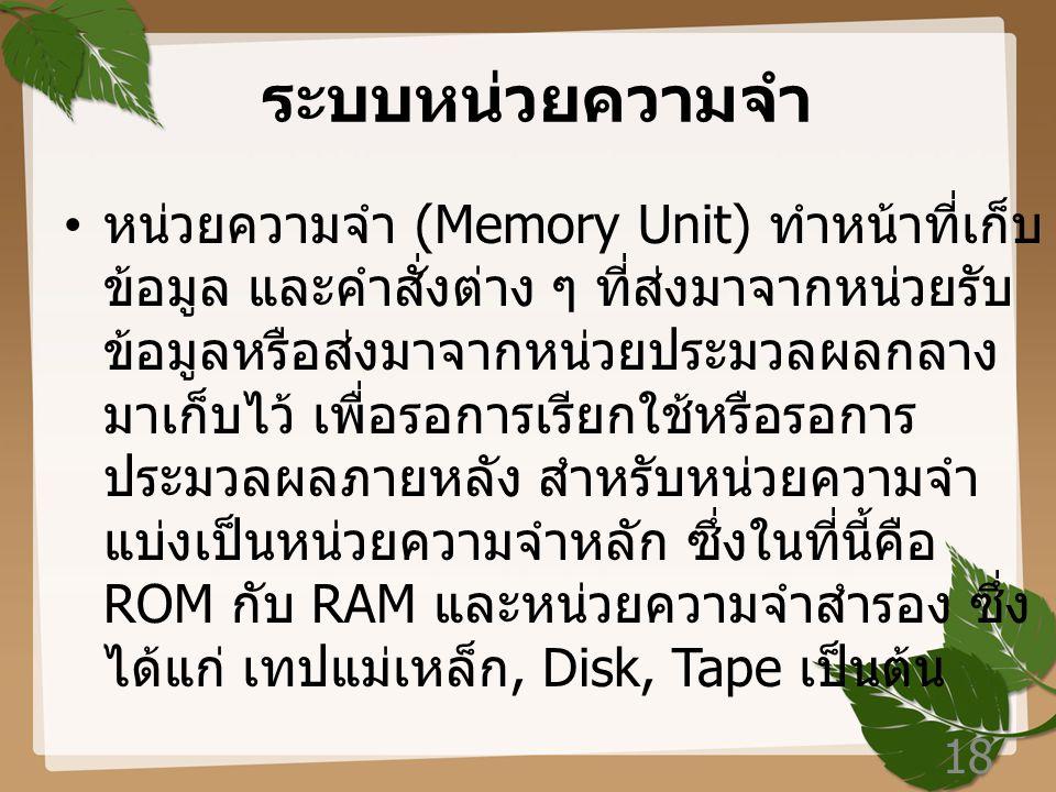 ระบบหน่วยความจำ