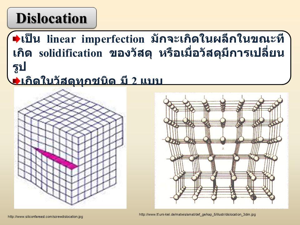 Dislocation เป็น linear imperfection มักจะเกิดในผลึกในขณะทีเกิด solidification ของวัสดุ หรือเมื่อวัสดุมีการเปลี่ยนรูป.