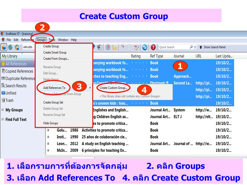 Create Custom Group 2. 1. 3. 4.