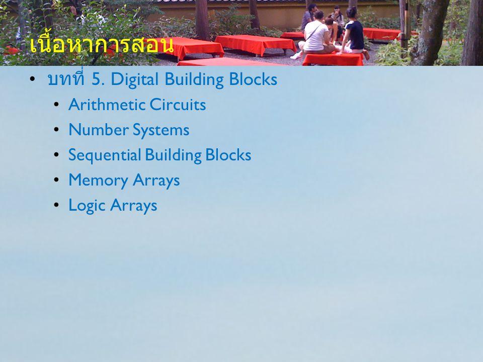เนื้อหาการสอน บทที่ 5. Digital Building Blocks Arithmetic Circuits