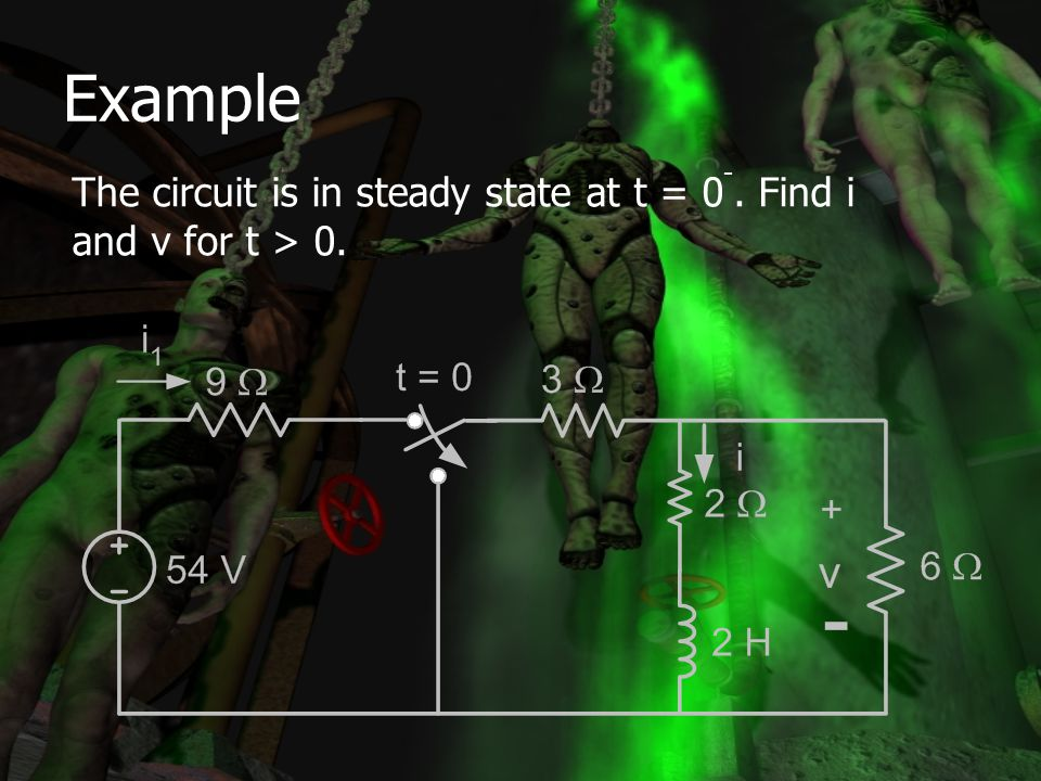 Example The circuit is in steady state at t = 0-. Find i and v for t > 0.