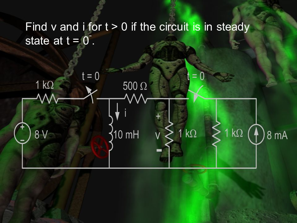 Find v and i for t > 0 if the circuit is in steady state at t = 0-.