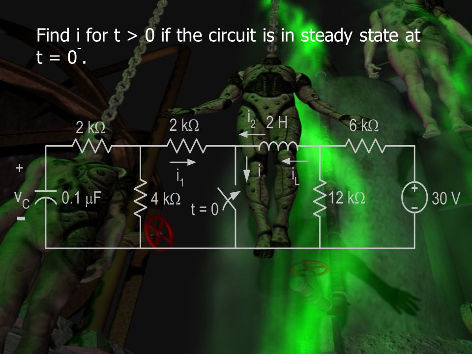 Find i for t > 0 if the circuit is in steady state at t = 0-.