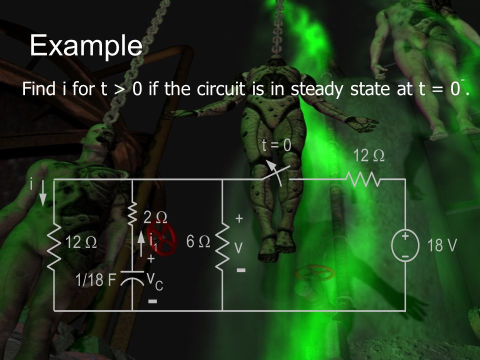 Example Find i for t > 0 if the circuit is in steady state at t = 0-.