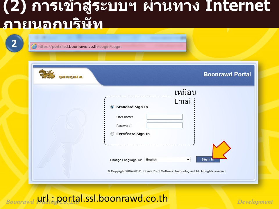 (2) การเข้าสู่ระบบฯ ผ่านทาง Internet ภายนอกบริษัท