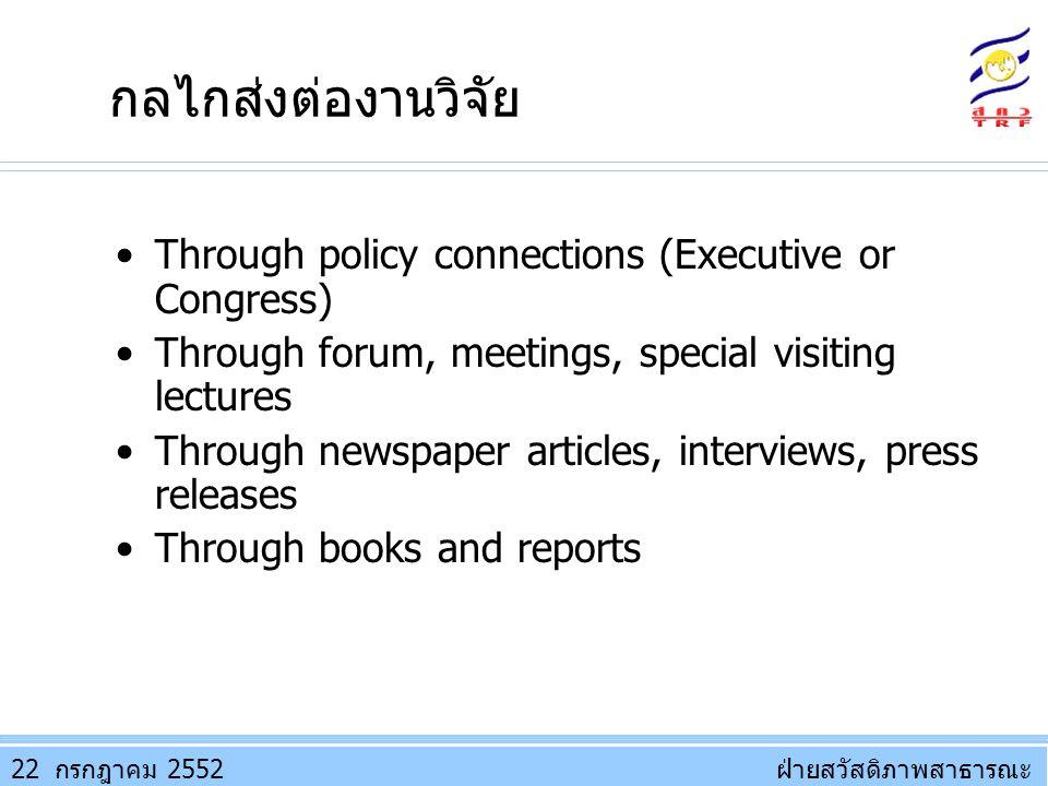 กลไกส่งต่องานวิจัย Through policy connections (Executive or Congress)