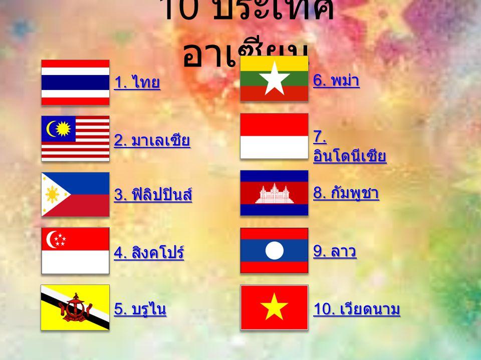10 ประเทศอาเซียน 1. ไทย 6. พม่า 7. อินโดนีเซีย 2. มาเลเซีย