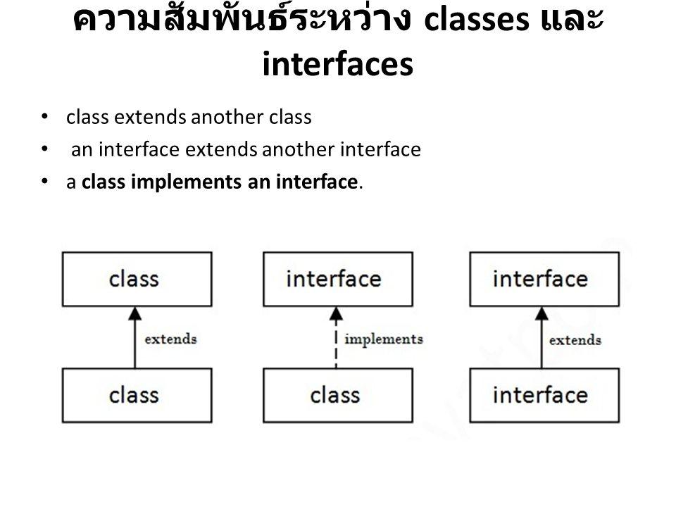 ความสัมพันธ์ระหว่าง classes และ interfaces