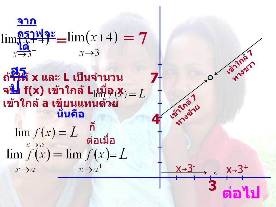 = 7 = ต่อไป สรุป 7 4 3 จากกราฟจะได้